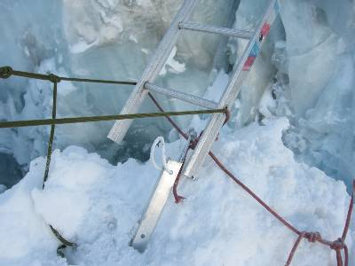 With only one leg on the ice, this ladder was very wobbly. Photo Paul Adler
