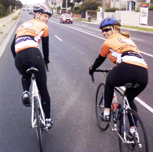 Fiona and Paul back riding again - Beach Rd on a wintery Melbourne day. Photo Chris Garrard
