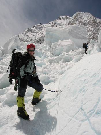 Fiona, near the top of the icefall. Didn't take too many pictures as it was too dangerous. Photo: Paul Adler