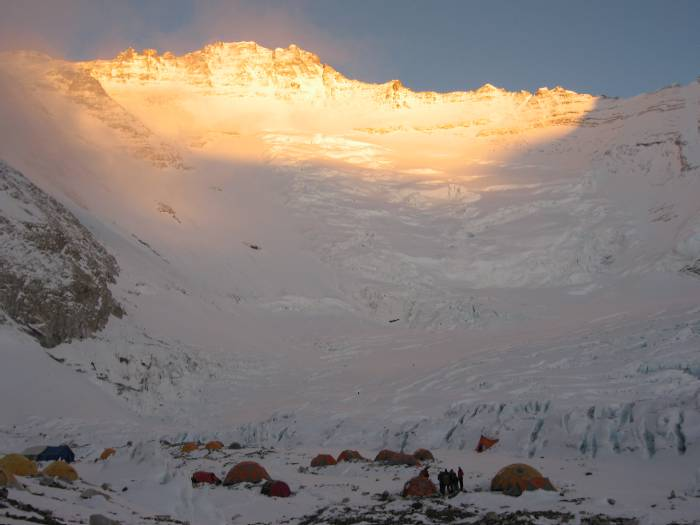 The Lhotse Face at sunset yesterday with the tents of C2 at the bottom. Photo Fiona Adler