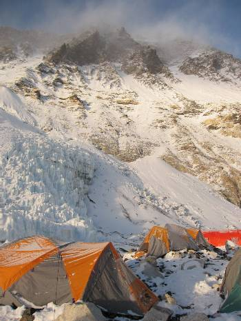 Looking up towards the summit of Everest from camp 2. Photo Paul Adler.