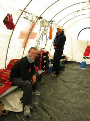 Paul visits the doctors at base camp. Photo Fiona Adler.