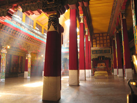 Inside the main assembly hall at the Potala Palace in Lhasa. Photo Paul Adler.