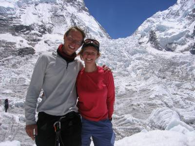 With Fiona at the bottom of the icefall.