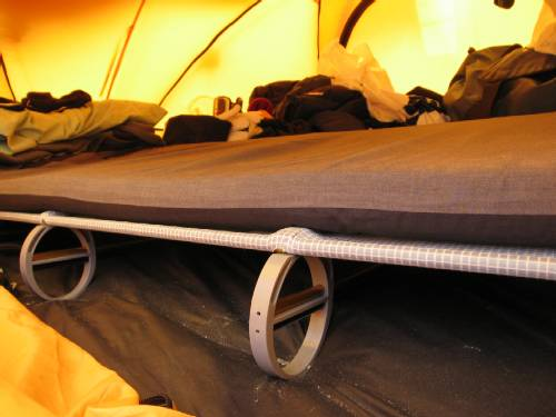 Side on view of my Luxury Lite camp cot. You can see the Easton poles that create the strong, but very light frame. Photo Paul Adler.