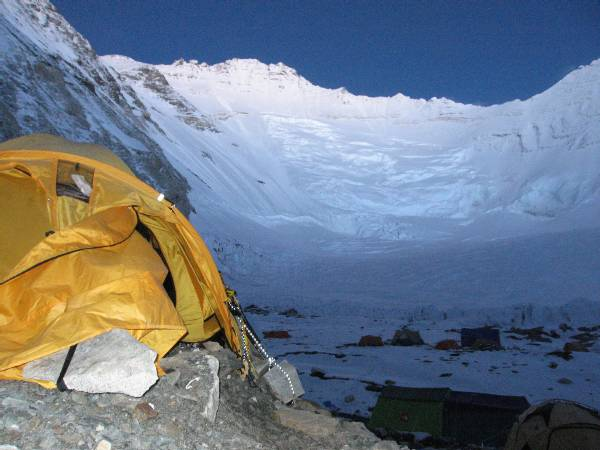 The Lhotse face yesterday evening. I used a 10 second exposure to take this shot as the sun went down. My tent is in the foreground. Photo Paul Adler